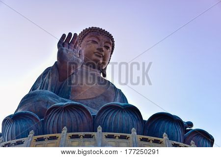 The enormous Tian Tan Buddha (Big Buddha) at Po Lin monastery Hong Kong with copy space