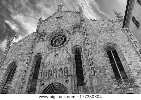 Como (Lombardy Italy): exterior of the cathedral built from the 13th century. Black and white