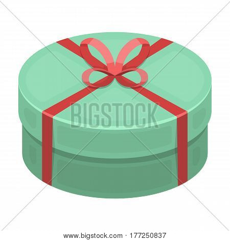 Round green gift with a red ribbon. A box for a cake.Gifts and Certificates single icon in cartoon style vector symbol stock web illustration.