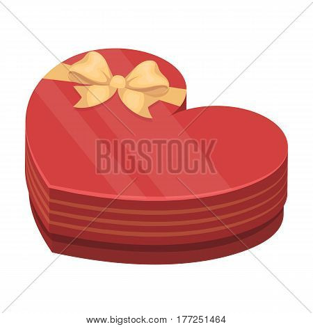 A box in the form of a red heart. A gift to a loved one.Gifts and Certificates single icon in cartoon style vector symbol stock web illustration.