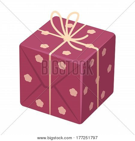 Red box in white peas. Wrapped in a rope with a bow.Gifts and Certificates single icon in cartoon style vector symbol stock web illustration.