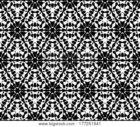 Vector monochrome texture, abstract black & white ornamental background. Illustration of lattice, floral figures, repeat tiles. Smooth geometric seamless pattern. Design for print, digital, decoration, textile, fabric, cloth