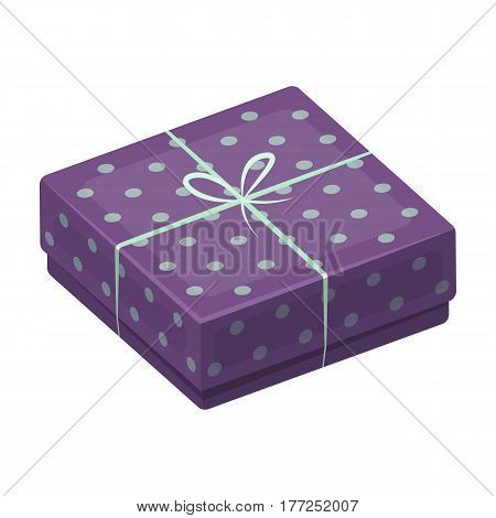 Purple gift for polka dots. Gift wrap on holiday.Gifts and Certificates single icon in cartoon style vector symbol stock web illustration.