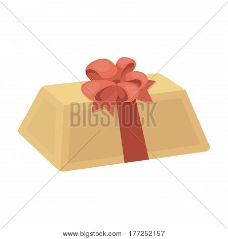 A flesh-colored gift with a red bow. Sweet present.Gifts and Certificates single icon in cartoon style vector symbol stock web illustration.