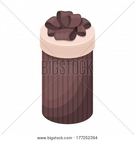 Brown box in the form of a cylinder. Gift wrapping for coffee.Gifts and Certificates single icon in cartoon style vector symbol stock web illustration.