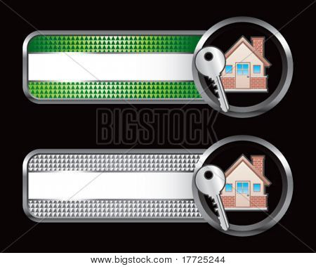 house and key green and silver checkered tabs