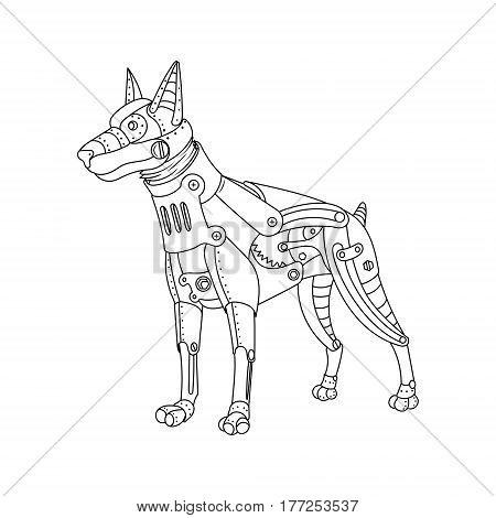 Steam punk style doberman dog. Mechanical animal. Coloring book vector illustration.
