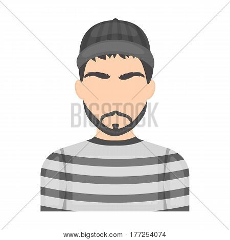 Prisoner in the prison robe. The offender is punished.Prison single icon in cartoon style vector symbol stock web illustration.