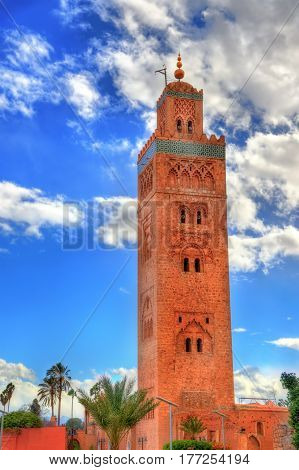 Minaret of Koutoubia Mosque in Marrakech - Morocco
