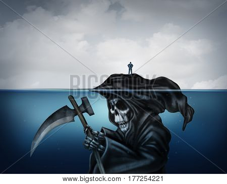 Death is looming concept or health risk and unknowingly have a false sense of security as a symbol in a 3D illustration style with a person standing on an island that is secretly a grim reaper underwater.