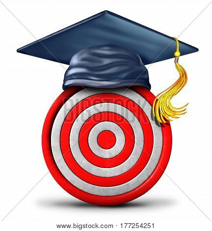 Education target and graduation goal concept as a school graduate mortar cap on a bulls eye object as a learning success strategy icon and metaphor or focused training symbol as a 3D illustration.