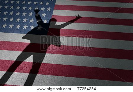American dream success and business entrepreneur excitement or immigration celebration as the shadow of a happy person on a USA flag in a 3D illustration style.