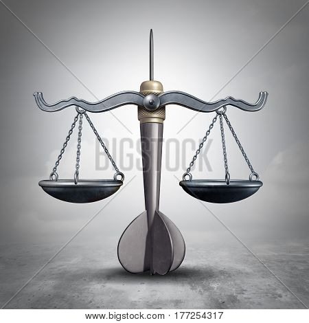 Legal target and lawyer litigation goal symbol as a justice scale shaped as a bullseye dart object as a legislation or litigation focus and law advice icon as a 3D illustration.