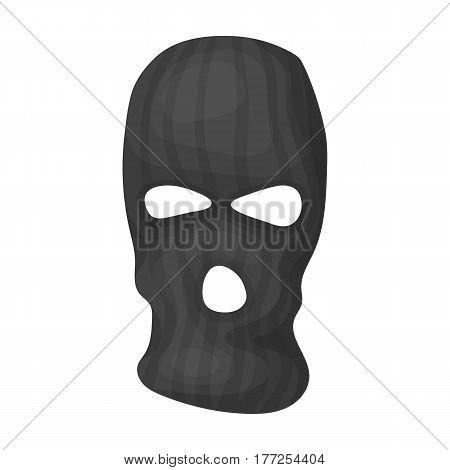 Mask to close the face of the offender from witnesses.Prison single icon in cartoon style vector symbol stock web illustration.