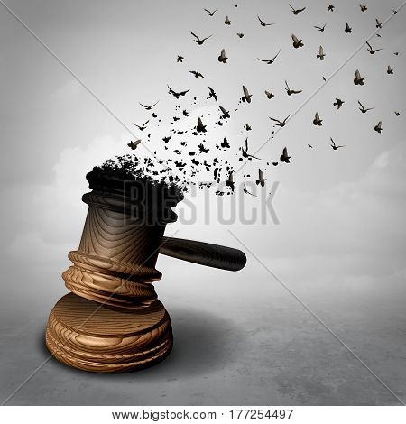 Amnesty concept and law decline or symbol for a legal pardon as a judge gavel or mallet being transformed into free flying birds as a justice metaphor for clemency or injustice and liberty as a 3D illiustration.