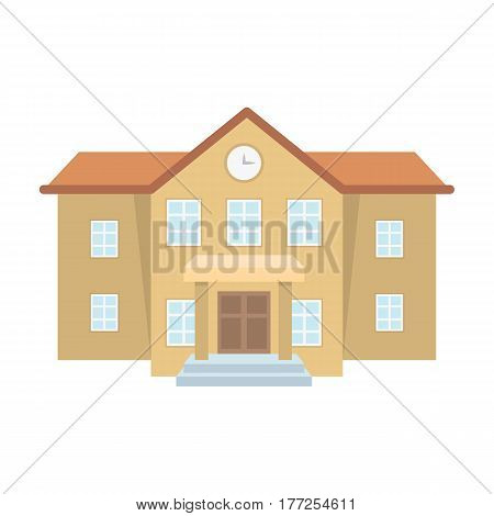 The main entrance of the institution . The school clock above the entrance.School And Education single icon in cartoon style vector symbol stock web illustration.