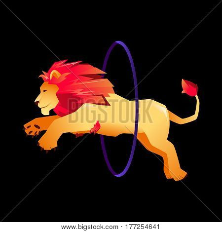 Circus trained wild animals performance. Gradient lion jumps over the ring in the fire.