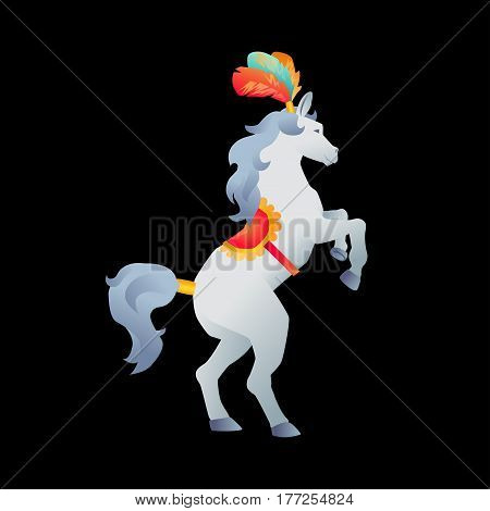Circus trained wild animals performance isolated. Gradient horse stands on hind legs.