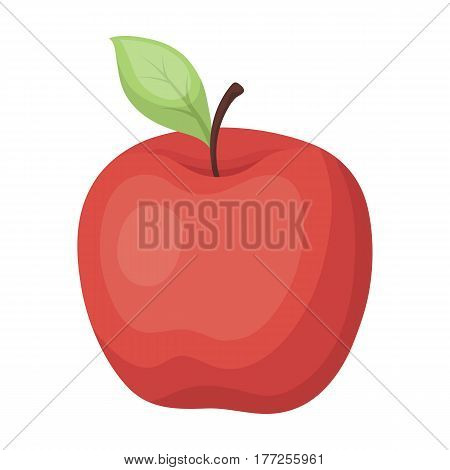 Red Apple. Snack at school. Lunch at the break.School And Education single icon in cartoon style vector symbol stock web illustration.