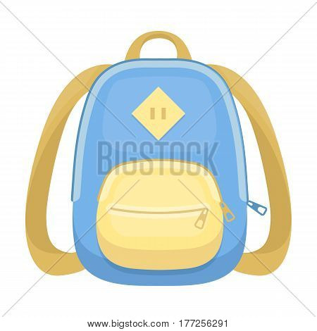 Blue school bag. A school bag for a book and notebooks.School And Education single icon in cartoon style vector symbol stock web illustration.