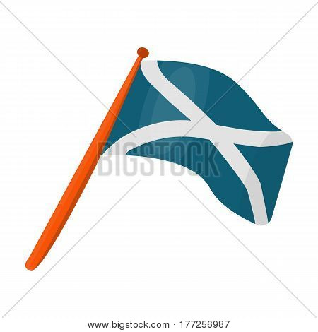 Scotland flag on a wooden stick.The Scottish national flag.Scotland single icon in cartoon style vector symbol stock web illustration.