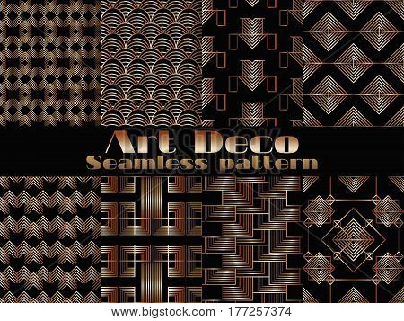Art Deco Seamless Pattern. Set Retro Backgrounds, Gold And Black Color. Style 1920's, 1930's. Vector