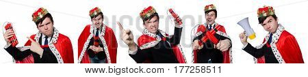 Businessman king with dynamite isolated on white