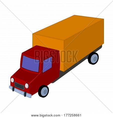 Red truck with a yellow body. The car for cargo transportation.Transport single icon in cartoon style vector symbol stock web illustration.