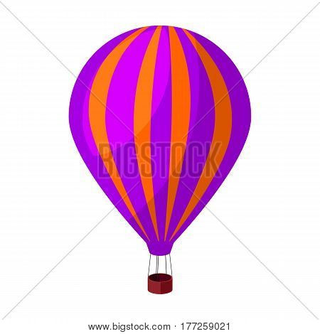 Air balloon for walking. Transport works on warm air. Transport single icon in cartoon style vector symbol stock web illustration.