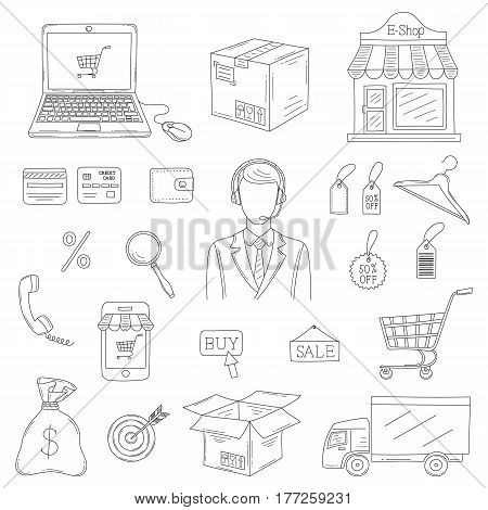 Vector set of hand drawn e-commerce icons set isolated on white background.