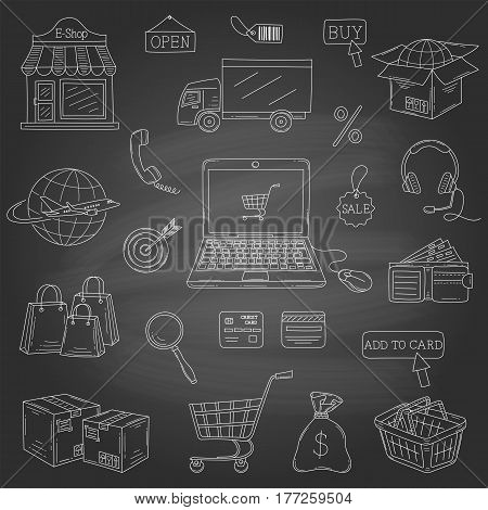 Vector set of hand drawn e-commerce icons set isolated on chalkboard background.