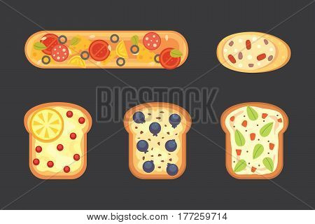Set toasts and sandwich breakfast. Bread toast with jam, egg, cheese, blueberry, peanut butter, salami and fish. Flat vector isolated illustration.