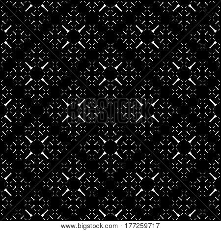 Vector seamless pattern, simple monochrome geometric texture. Diagonal thin lines, repeat tiles, tiny crosses. Abstract black & white background. Stylish dark design for decor, digital, web, textile, fabric, wrapping paper, cover
