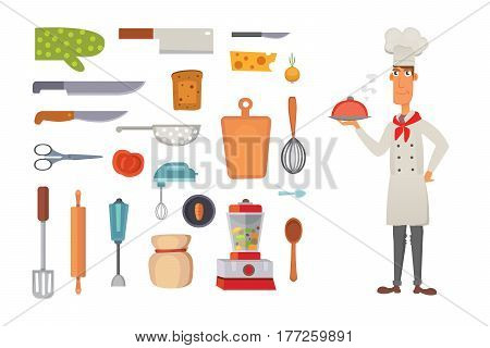 kitchen shelves and cooking utensils, chef character concept