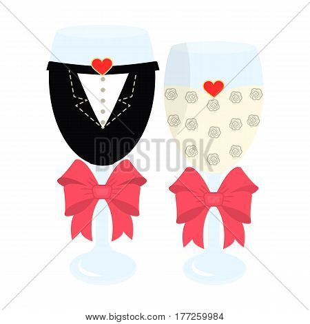 Glass glasses in the clothes of the bride and groom.Wedding single icon in cartoon style vector symbol stock web illustration.