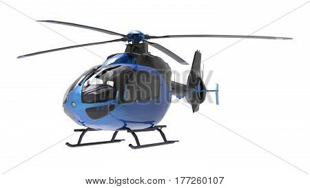 Blue helicopter isolated on the white background. 3d illustration