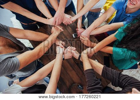 Group Of Diverse Hands Together Joining. Concept  Teamwork And Friendship