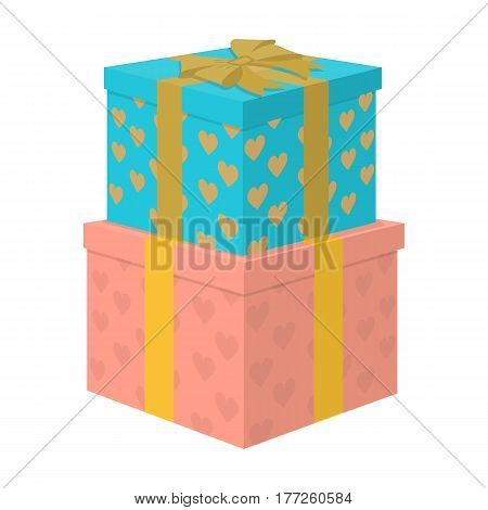 Gift to the bride and groom for the wedding from guests and loved ones. Boxes in beautiful paper.Wedding single icon in cartoon style vector symbol stock web illustration.