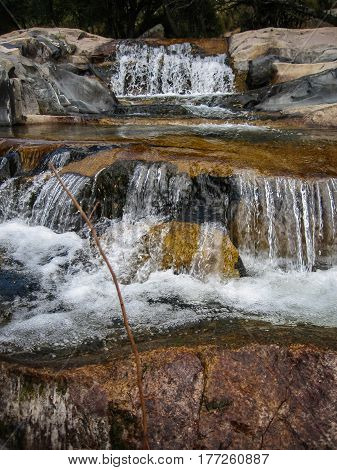 Image of a river with small waterfalls at Pedrisa Comunity of Madrid Spain