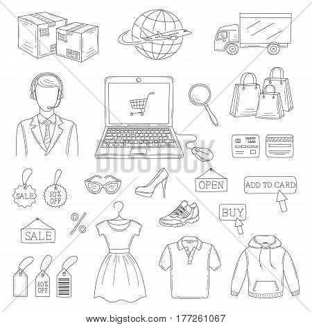 Vector set of hand drawn online shopping icons isolated on white background.