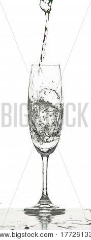 The water splashing inro glass on white background