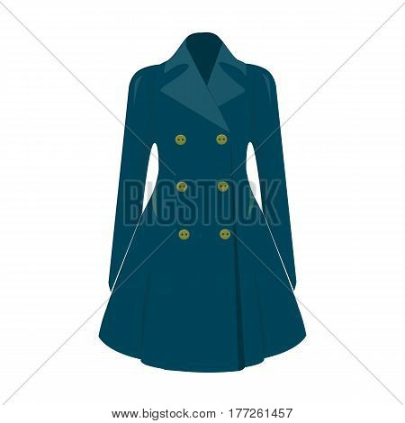 Blue female restrained coat buttoned. Women s outerwear. Woman clothes single icon in cartoon style vector symbol stock web illustration.