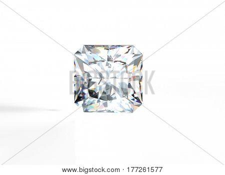 Diamond on white Background.Fashion luxury accessories. Jewelry background. 3D illustration