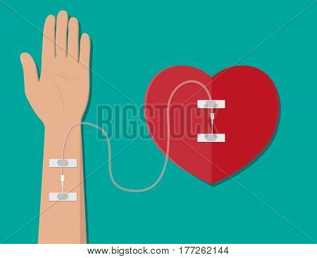 Hand of donor with heart. Blood donation day concept. Human donates blood. Vector illustration in flat style.
