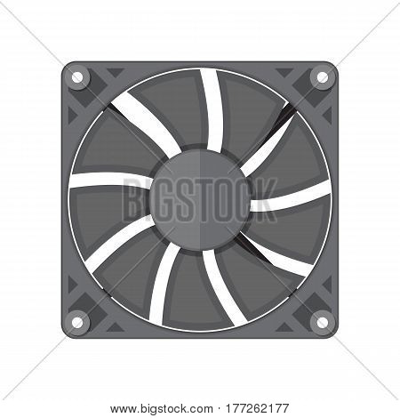 Plastic computer cooler isolated on white. PC hardware. Components for personal computer. Fan icon. Vector illustration in flat style