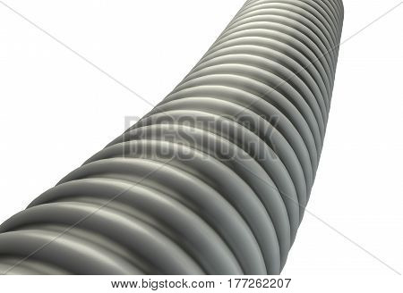 metal ribbed hose isolated on white background 3d render