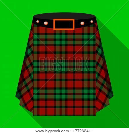 Scottish tartan kilt.The men s skirt for the Scots.Scotland single icon in flat style vector symbol stock web illustration.
