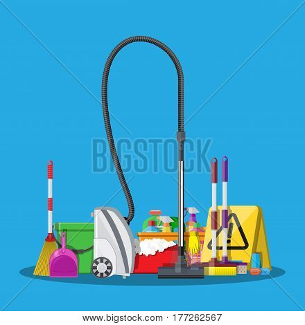 Cleaning set. Mop, sponge, bucket, broom, dustpan, cleaning products in bottle for floor and glass, rubber gloves, vacuum cleaner, wet floor sign. Vector illustration in flat style