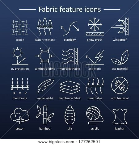Fabric and clothes feature line icons. Linear wear labels. Elements - cotton wool waterproof uv protection breathable fiber and more. Textile industry pictograms with editable stroke for garments.