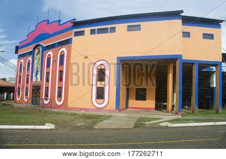 CORN ISLAND, NICARAGUA-JANUARY 17: The new facade of the Karen Tucker Baseball Stadium at Big Corn Island, Nicaragua is seen on January 17, 2017.
